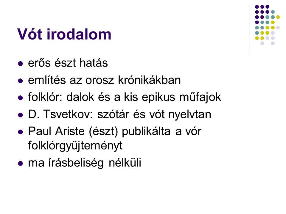 Vót irodalom erős észt hatás említés az orosz krónikákban folklór: dalok és a kis epikus műfajok D.