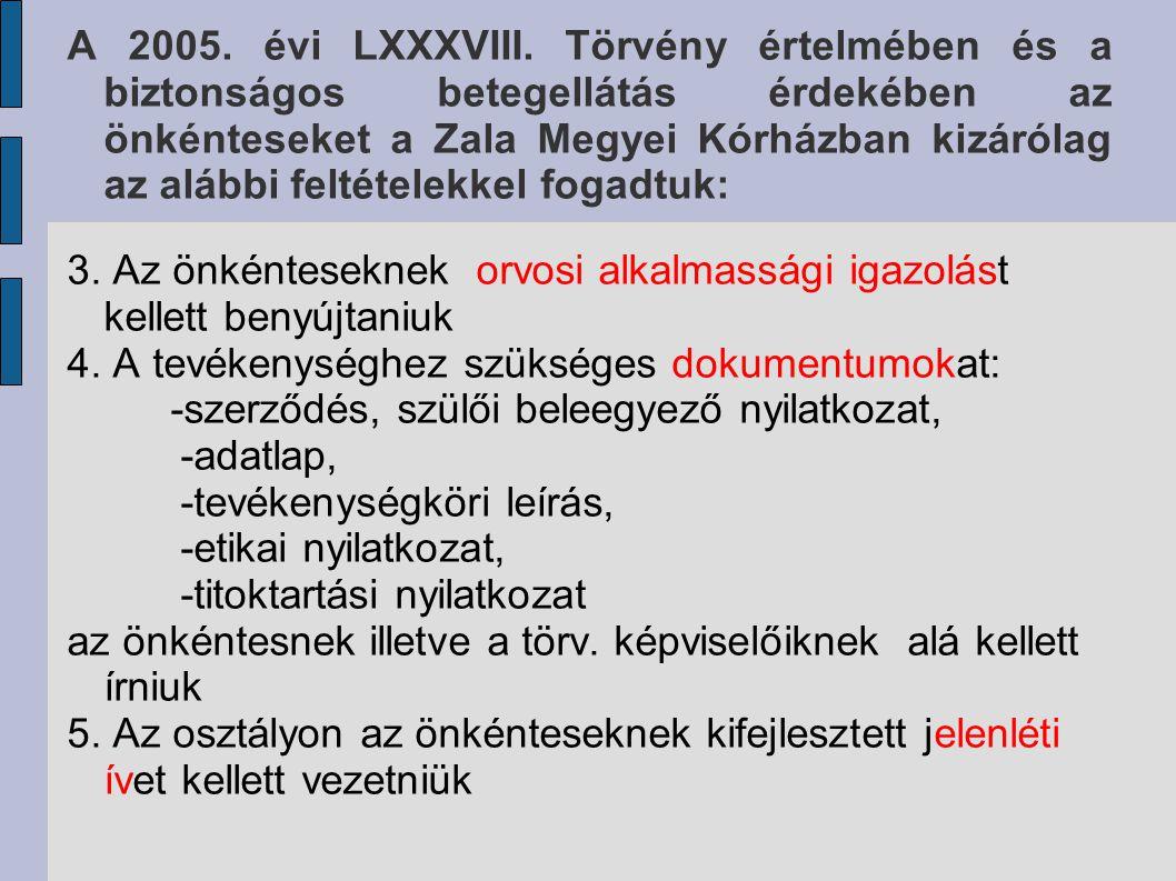 A 2005. évi LXXXVIII. Törvény értelmében és a biztonságos betegellátás érdekében az önkénteseket a Zala Megyei Kórházban kizárólag az alábbi feltétele