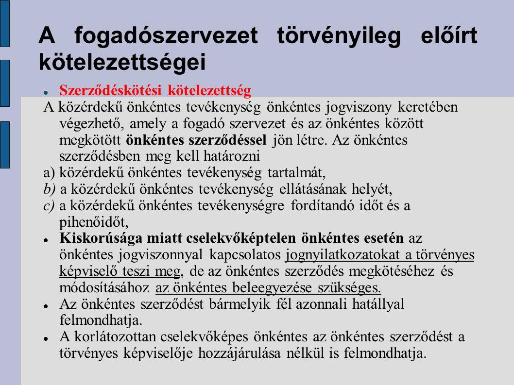 A fogadószervezet törvényileg előírt kötelezettségei A fogadó szervezet köteles biztosítani: a) az egészséget nem veszélyeztető és biztonságos munkavégzés feltételeit, b) a szükséges pihenőidőt, c) a közérdekű önkéntes tevékenység ellátásához szükséges tájékoztatást és irányítást, az ismeretek megszerzését, d) tizennyolcadik életévét be nem töltött önkéntes, illetve a korlátozottan cselekvőképes nagykorú önkéntes esetén a közérdekű önkéntes tevékenység folyamatos, szakszerű felügyeletét !!!