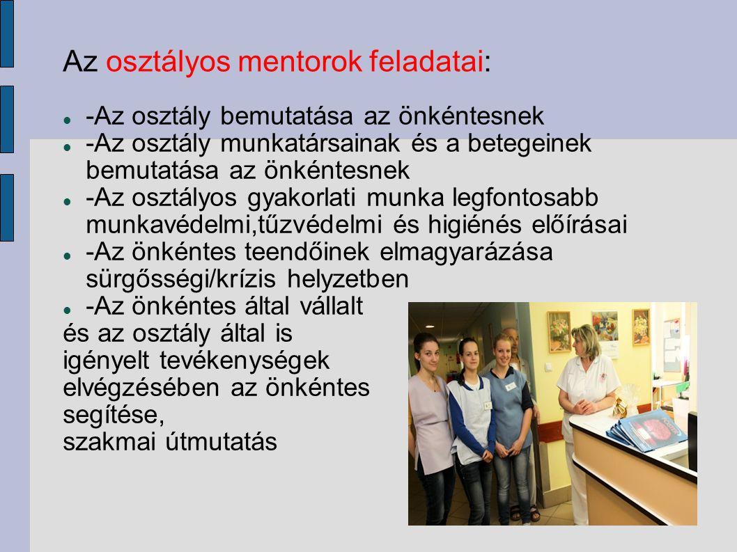 Az osztályos mentorok feladatai: -Az osztály bemutatása az önkéntesnek -Az osztály munkatársainak és a betegeinek bemutatása az önkéntesnek -Az osztál