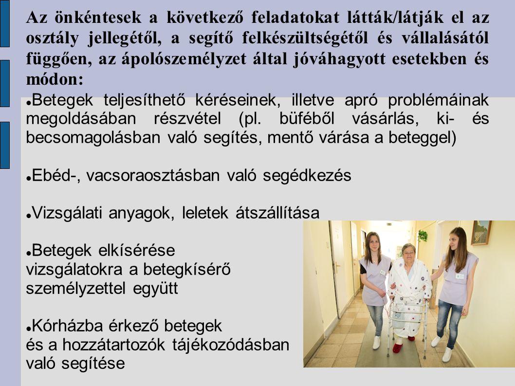 Az önkéntesek a következő feladatokat látták/látják el az osztály jellegétől, a segítő felkészültségétől és vállalásától függően, az ápolószemélyzet á