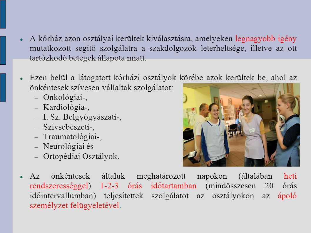 A Kölcsey Ferenc Gimnáziumból érkező 29 önkéntes diák a Nemzeti Erőforrás Minisztérium által kiírt Társadalmi Szolidaritás pályázati program keretében teljesített szolgálatot 2011.
