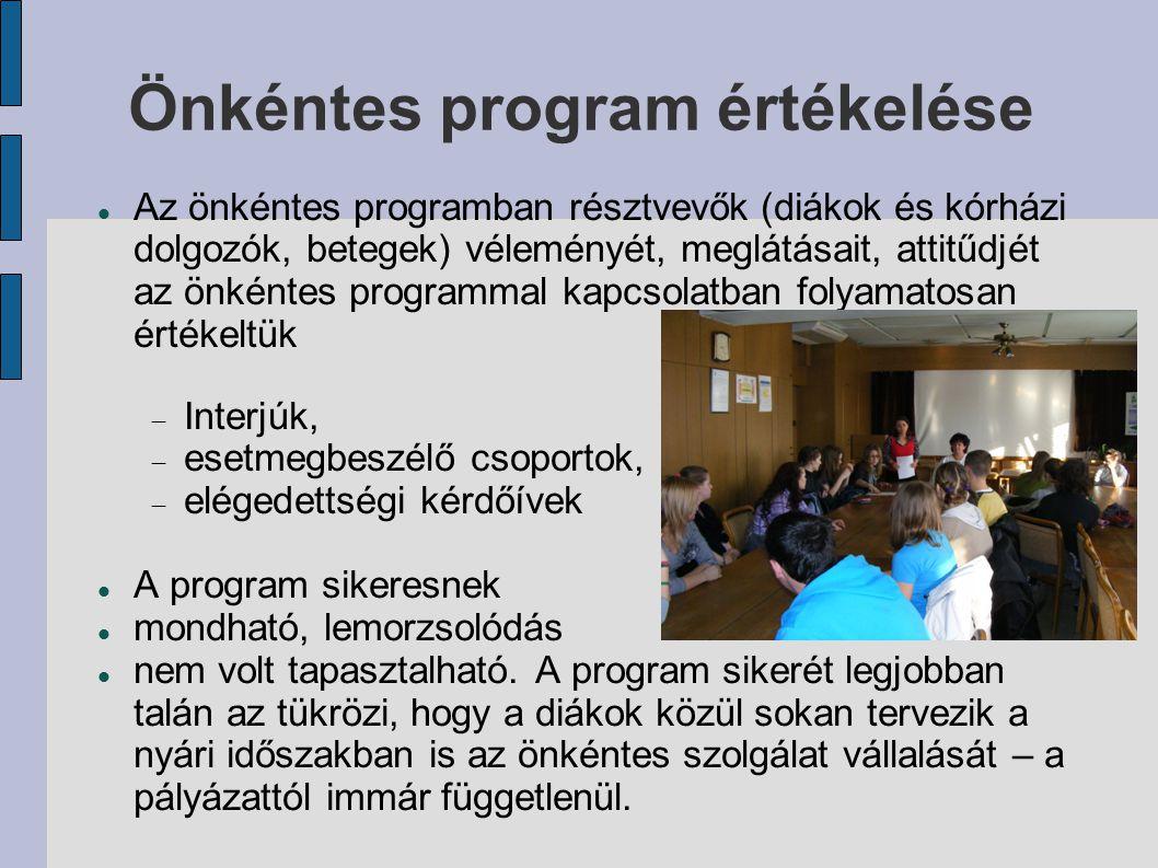 Önkéntes program értékelése Az önkéntes programban résztvevők (diákok és kórházi dolgozók, betegek) véleményét, meglátásait, attitűdjét az önkéntes pr
