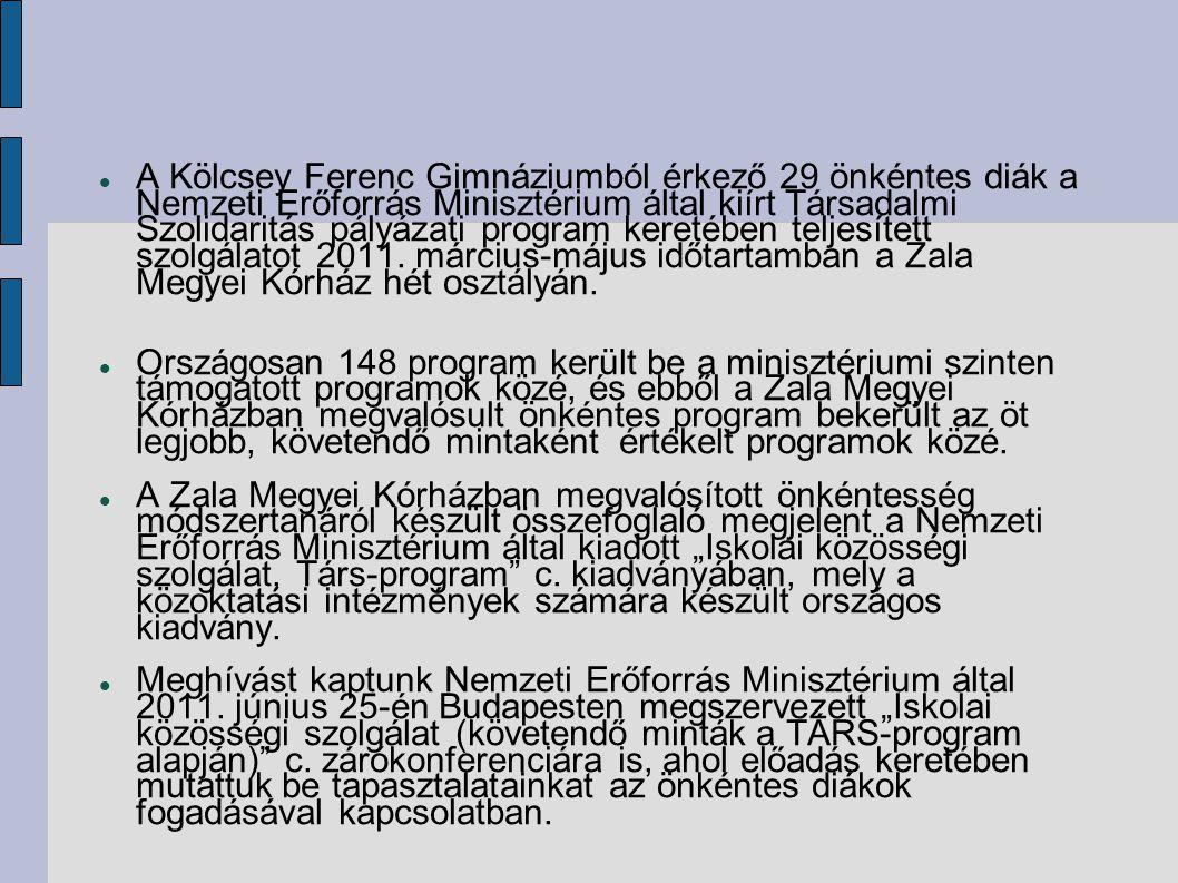 A Kölcsey Ferenc Gimnáziumból érkező 29 önkéntes diák a Nemzeti Erőforrás Minisztérium által kiírt Társadalmi Szolidaritás pályázati program keretében