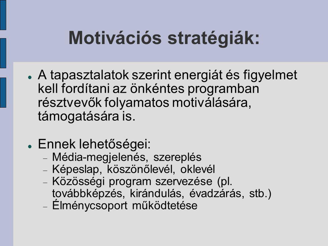 Motivációs stratégiák: A tapasztalatok szerint energiát és figyelmet kell fordítani az önkéntes programban résztvevők folyamatos motiválására, támogat