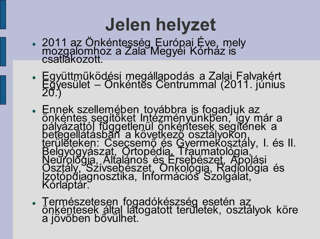 Jelen helyzet 2011 az Önkéntesség Európai Éve, mely mozgalomhoz a Zala Megyei Kórház is csatlakozott. Együttműködési megállapodás a Zalai Falvakért Eg