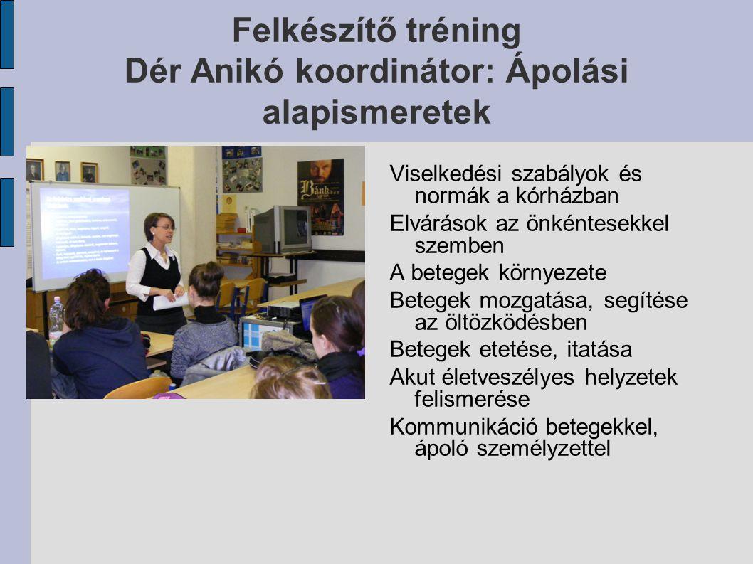 Felkészítő tréning Dér Anikó koordinátor: Ápolási alapismeretek Viselkedési szabályok és normák a kórházban Elvárások az önkéntesekkel szemben A beteg