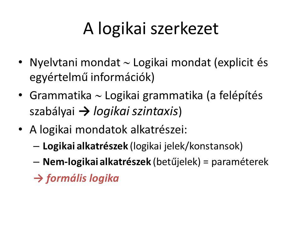A logikai szerkezet Nyelvtani mondat  Logikai mondat (explicit és egyértelmű információk) Grammatika  Logikai grammatika (a felépítés szabályai → logikai szintaxis ) A logikai mondatok alkatrészei: – Logikai alkatrészek (logikai jelek/konstansok) – Nem-logikai alkatrészek (betűjelek) = paraméterek → formális logika