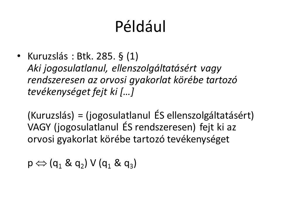 Például Kuruzslás : Btk. 285.