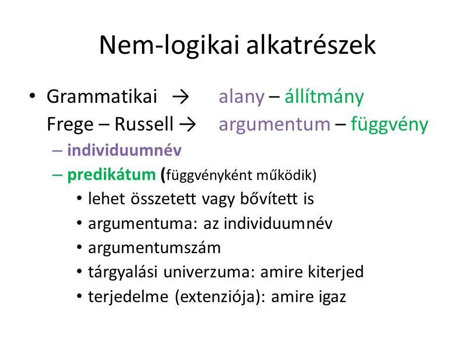 Nem-logikai alkatrészek Grammatikai → alany – állítmány Frege – Russell → argumentum – függvény – individuumnév – predikátum ( függvényként működik) lehet összetett vagy bővített is argumentuma: az individuumnév argumentumszám tárgyalási univerzuma: amire kiterjed terjedelme (extenziója): amire igaz