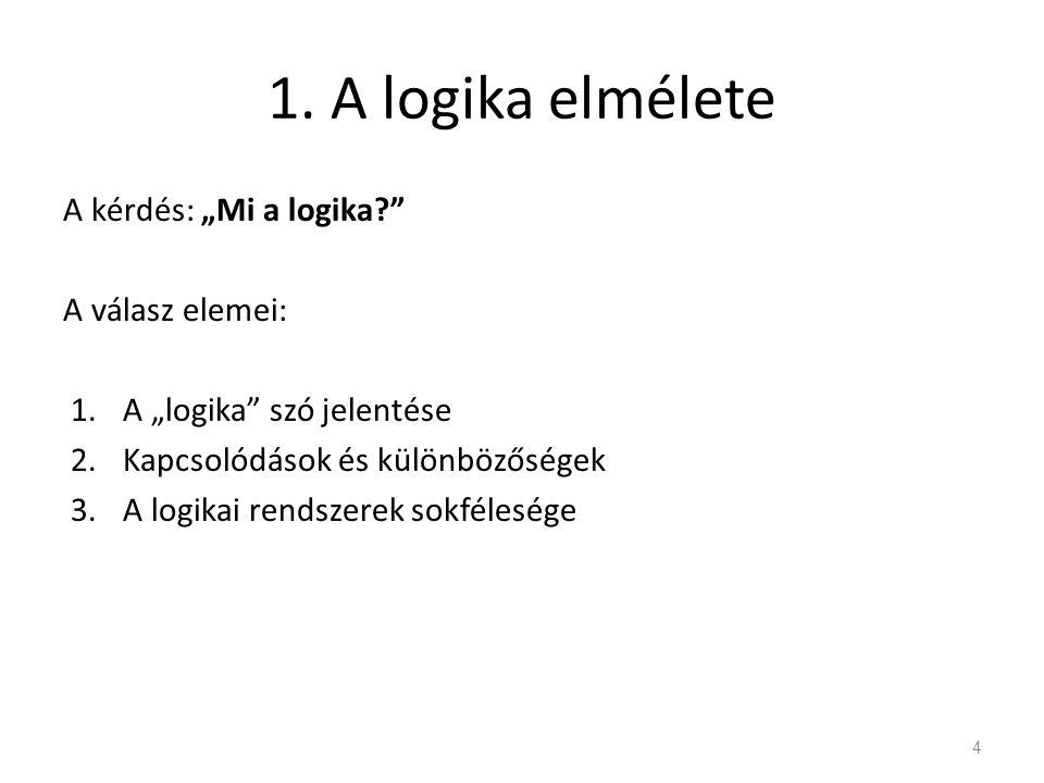 """1. A logika elmélete A kérdés: """"Mi a logika?"""" A válasz elemei: 1.A """"logika"""" szó jelentése 2.Kapcsolódások és különbözőségek 3.A logikai rendszerek sok"""