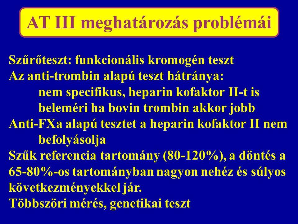 AT III meghatározás problémái Szűrőteszt: funkcionális kromogén teszt Az anti-trombin alapú teszt hátránya: nem specifikus, heparin kofaktor II-t is b