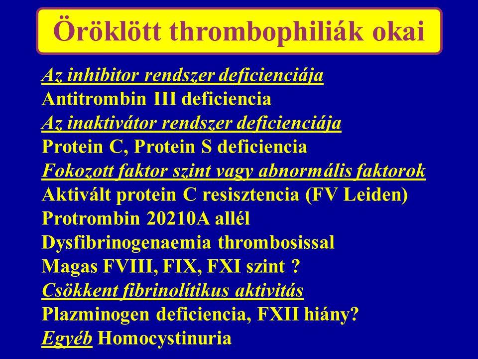 Öröklött thrombophiliák okai Az inhibitor rendszer deficienciája Antitrombin III deficiencia Az inaktivátor rendszer deficienciája Protein C, Protein