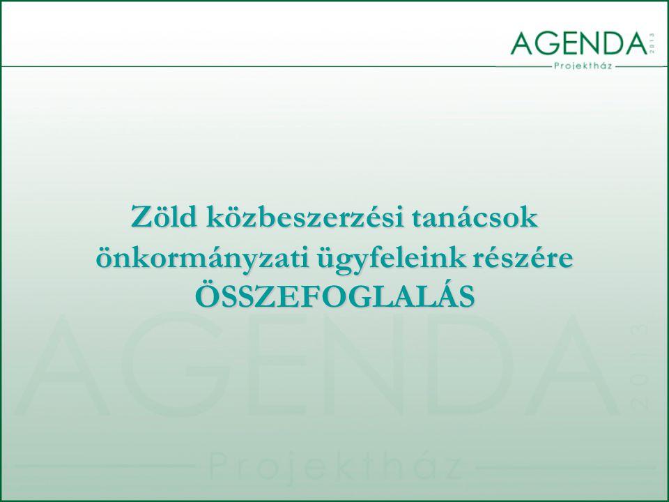 Zöld közbeszerzési tanácsok önkormányzati ügyfeleink részére ÖSSZEFOGLALÁS