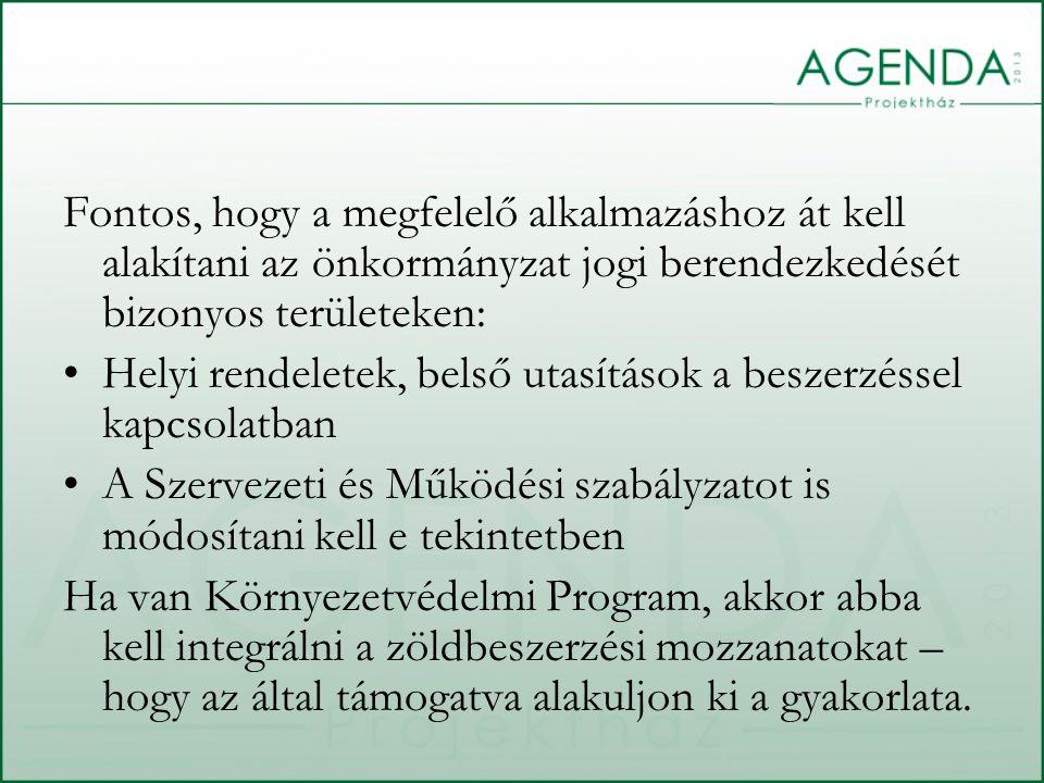 Fontos, hogy a megfelelő alkalmazáshoz át kell alakítani az önkormányzat jogi berendezkedését bizonyos területeken: Helyi rendeletek, belső utasítások