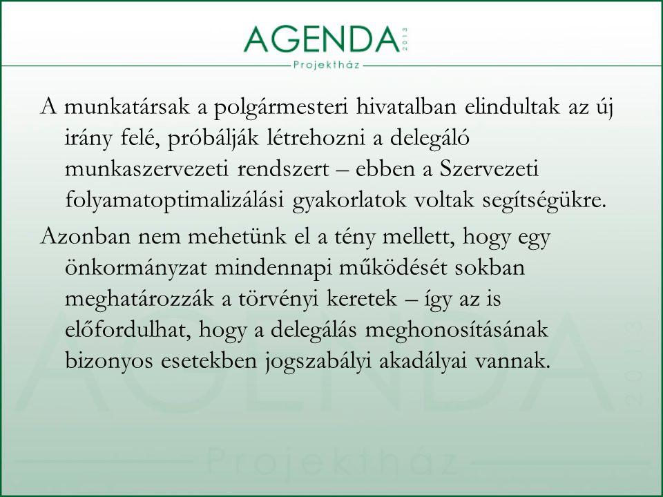 A munkatársak a polgármesteri hivatalban elindultak az új irány felé, próbálják létrehozni a delegáló munkaszervezeti rendszert – ebben a Szervezeti folyamatoptimalizálási gyakorlatok voltak segítségükre.