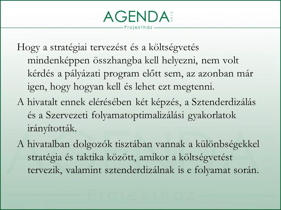 Hogy a stratégiai tervezést és a költségvetés mindenképpen összhangba kell helyezni, nem volt kérdés a pályázati program előtt sem, az azonban már igen, hogy hogyan kell és lehet ezt megtenni.
