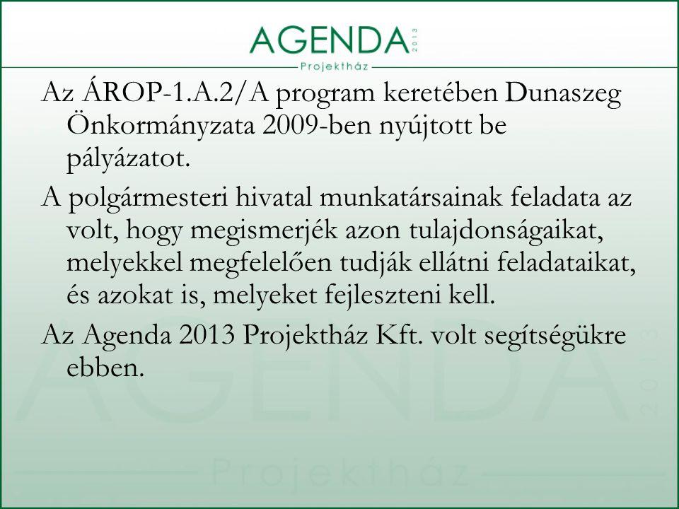 Az ÁROP-1.A.2/A program keretében Dunaszeg Önkormányzata 2009-ben nyújtott be pályázatot.