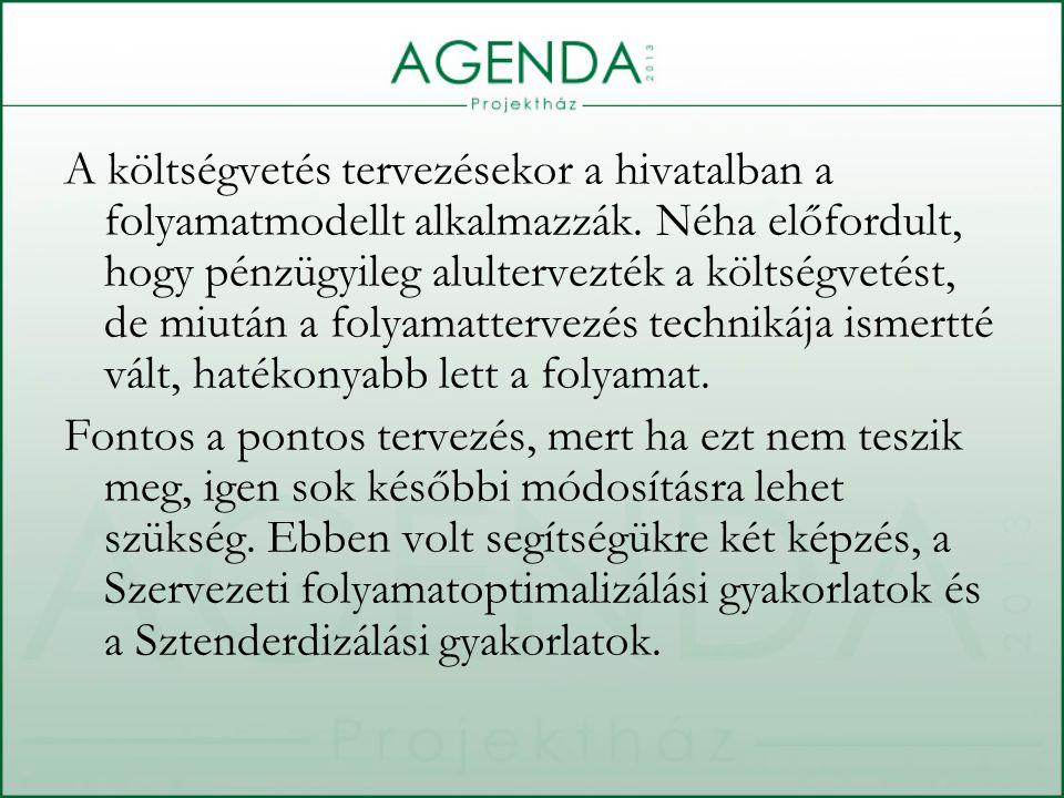 A költségvetés tervezésekor a hivatalban a folyamatmodellt alkalmazzák.