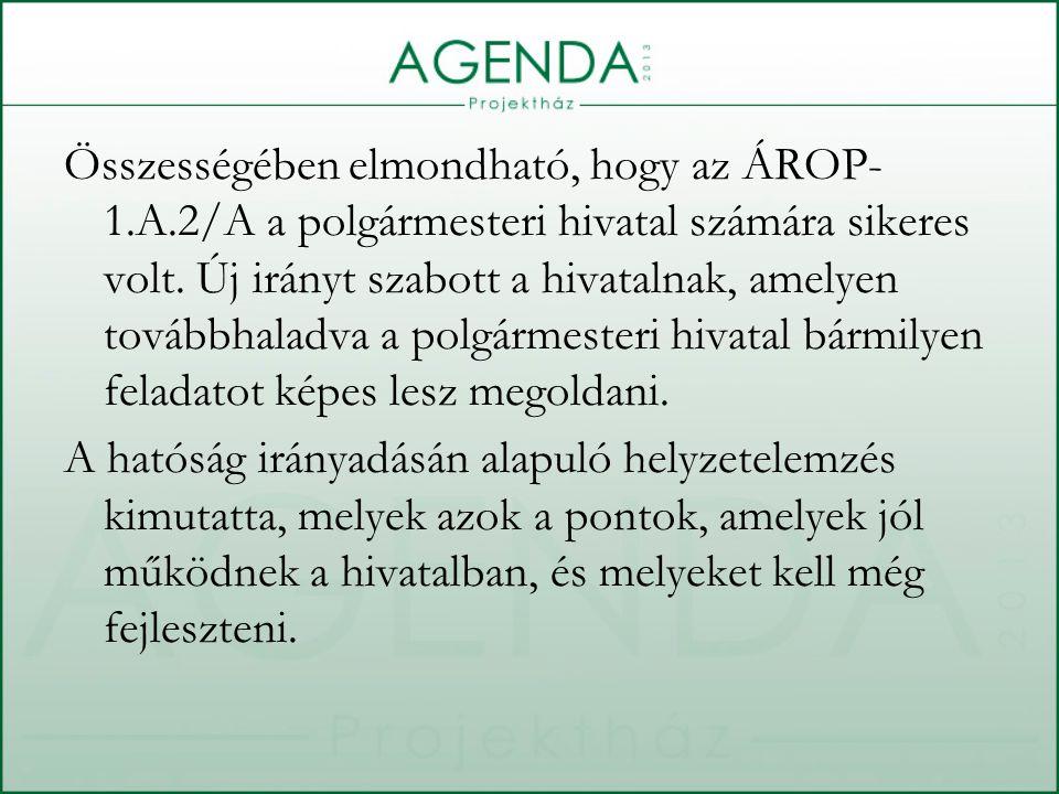 Összességében elmondható, hogy az ÁROP- 1.A.2/A a polgármesteri hivatal számára sikeres volt.