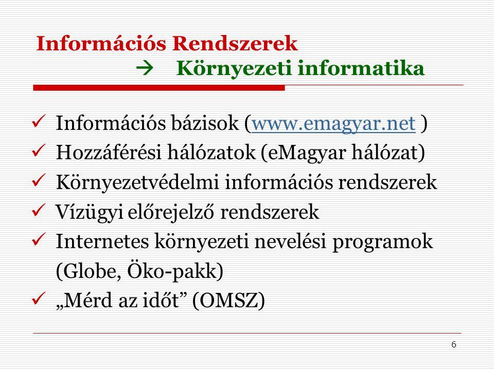6 Információs Rendszerek  Környezeti informatika Információs bázisok (www.emagyar.net )www.emagyar.net Hozzáférési hálózatok (eMagyar hálózat) Környe