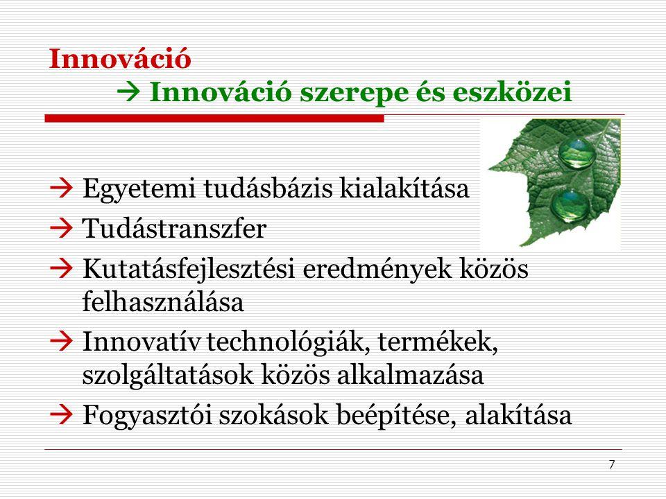 7 Innováció  Innováció szerepe és eszközei  Egyetemi tudásbázis kialakítása  Tudástranszfer  Kutatásfejlesztési eredmények közös felhasználása  Innovatív technológiák, termékek, szolgáltatások közös alkalmazása  Fogyasztói szokások beépítése, alakítása