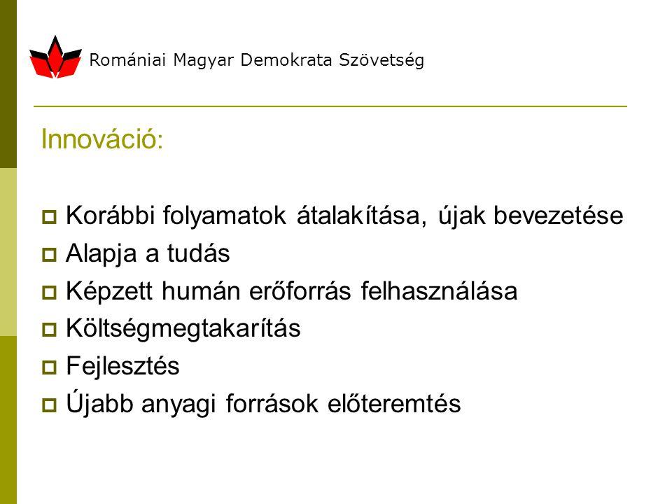Romániai Magyar Demokrata Szövetség Innováció :  Korábbi folyamatok átalakítása, újak bevezetése  Alapja a tudás  Képzett humán erőforrás felhasználása  Költségmegtakarítás  Fejlesztés  Újabb anyagi források előteremtés