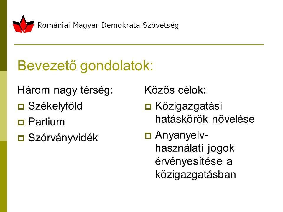 Bevezető gondolatok: Három nagy térség:  Székelyföld  Partium  Szórványvidék Közös célok:  Közigazgatási hatáskörök növelése  Anyanyelv- használati jogok érvényesítése a közigazgatásban Romániai Magyar Demokrata Szövetség