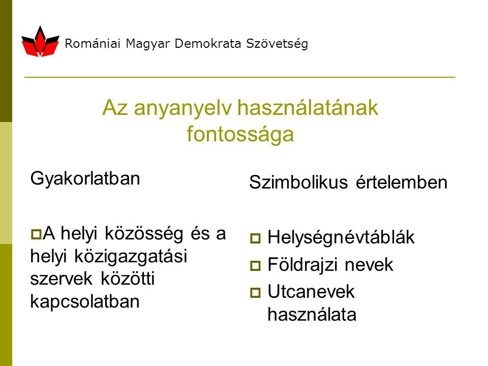 Romániai Magyar Demokrata Szövetség Az anyanyelv használatának fontossága Gyakorlatban  A helyi közösség és a helyi közigazgatási szervek közötti kapcsolatban Szimbolikus értelemben  Helységnévtáblák  Földrajzi nevek  Utcanevek használata