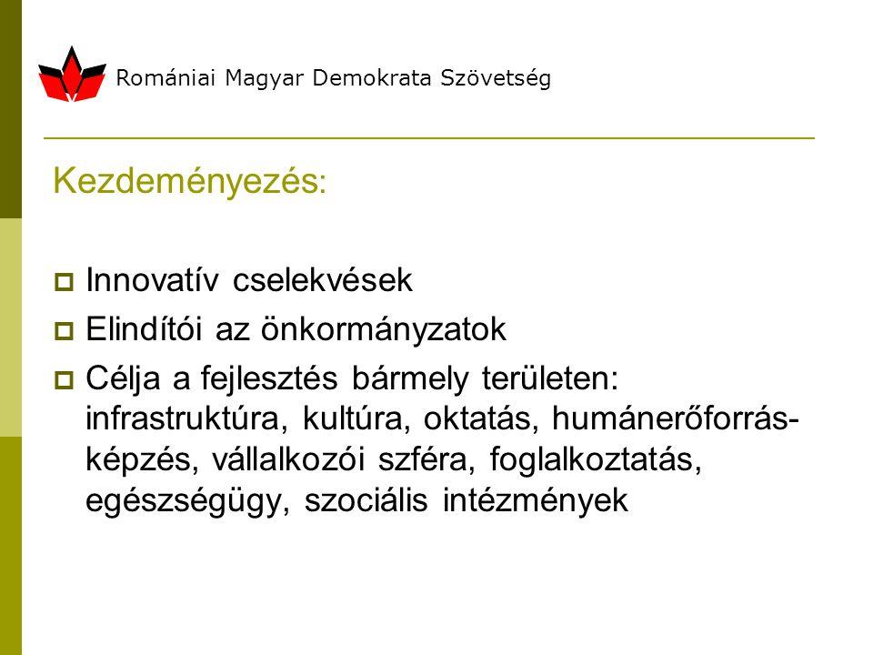 Romániai Magyar Demokrata Szövetség Kezdeményezés :  Innovatív cselekvések  Elindítói az önkormányzatok  Célja a fejlesztés bármely területen: infrastruktúra, kultúra, oktatás, humánerőforrás- képzés, vállalkozói szféra, foglalkoztatás, egészségügy, szociális intézmények