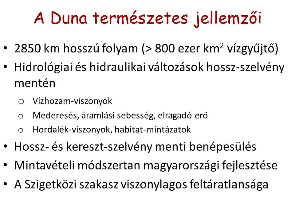 A Duna természetes jellemzői 2850 km hosszú folyam (> 800 ezer km 2 vízgyűjtő) Hidrológiai és hidraulikai változások hossz-szelvény mentén o Vízhozam-viszonyok o Mederesés, áramlási sebesség, elragadó erő o Hordalék-viszonyok, habitat-mintázatok Hossz- és kereszt-szelvény menti benépesülés Mintavételi módszertan magyarországi fejlesztése A Szigetközi szakasz viszonylagos feltáratlansága