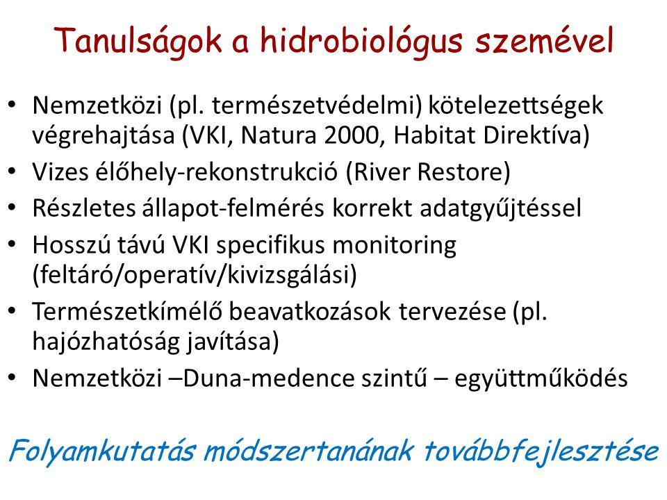 Tanulságok a hidrobiológus szemével Nemzetközi (pl.