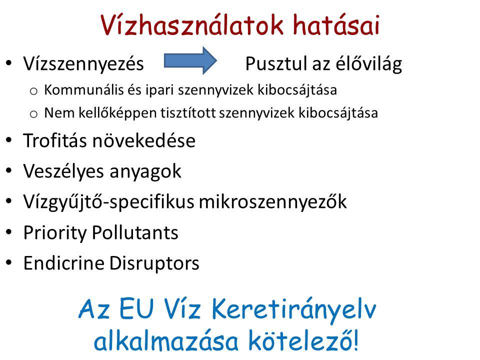 Vízhasználatok hatásai VízszennyezésPusztul az élővilág o Kommunális és ipari szennyvizek kibocsájtása o Nem kellőképpen tisztított szennyvizek kibocsájtása Trofitás növekedése Veszélyes anyagok Vízgyűjtő-specifikus mikroszennyezők Priority Pollutants Endicrine Disruptors Az EU Víz Keretirányelv alkalmazása kötelező!