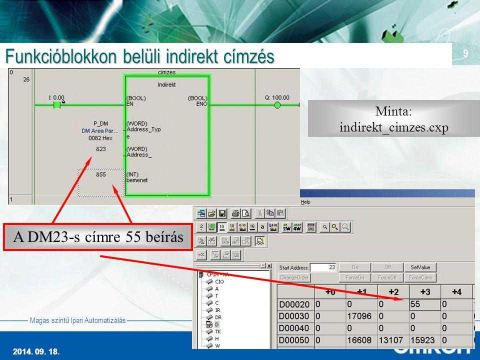 2014. 09. 18. 9 Magas szintű Ipari Automatizálás 2014.