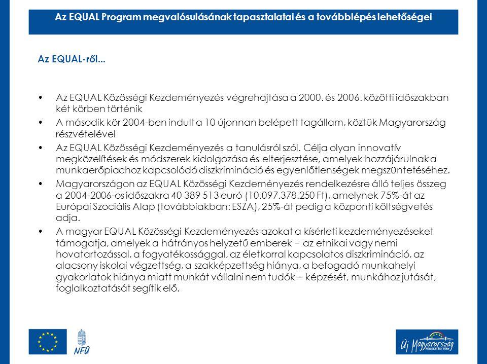 Az EQUAL Közösségi Kezdeményezés végrehajtása a 2000. és 2006. közötti időszakban két körben történik A második kör 2004-ben indult a 10 újonnan belép