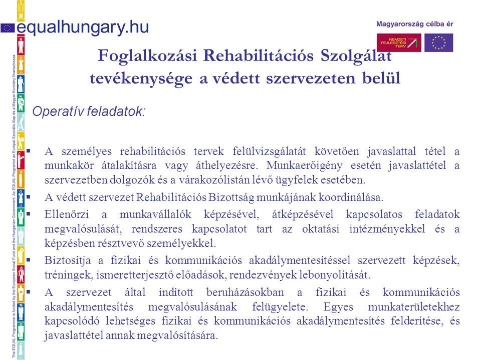Foglalkozási Rehabilitációs Szolgálat tevékenysége a védett szervezeten belül Operatív feladatok:  A személyes rehabilitációs tervek felülvizsgálatát