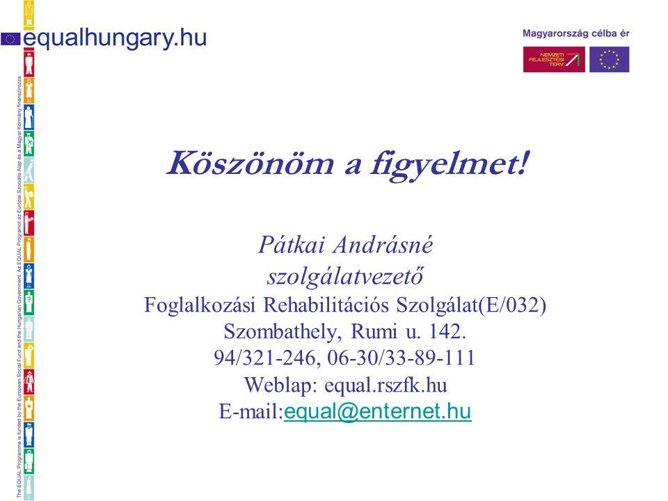 Köszönöm a figyelmet! Pátkai Andrásné szolgálatvezető Foglalkozási Rehabilitációs Szolgálat(E/032) Szombathely, Rumi u. 142. 94/321-246, 06-30/33-89-1