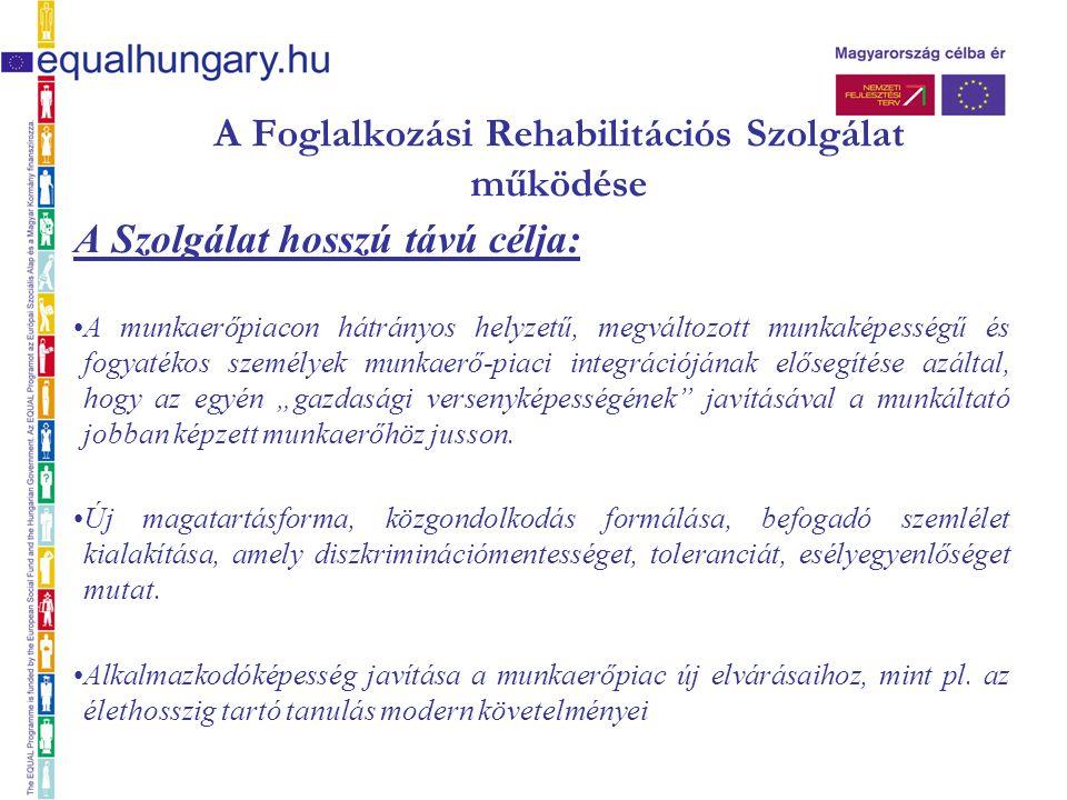 A Foglalkozási Rehabilitációs Szolgálat működése A Szolgálat hosszú távú célja: A munkaerőpiacon hátrányos helyzetű, megváltozott munkaképességű és fo