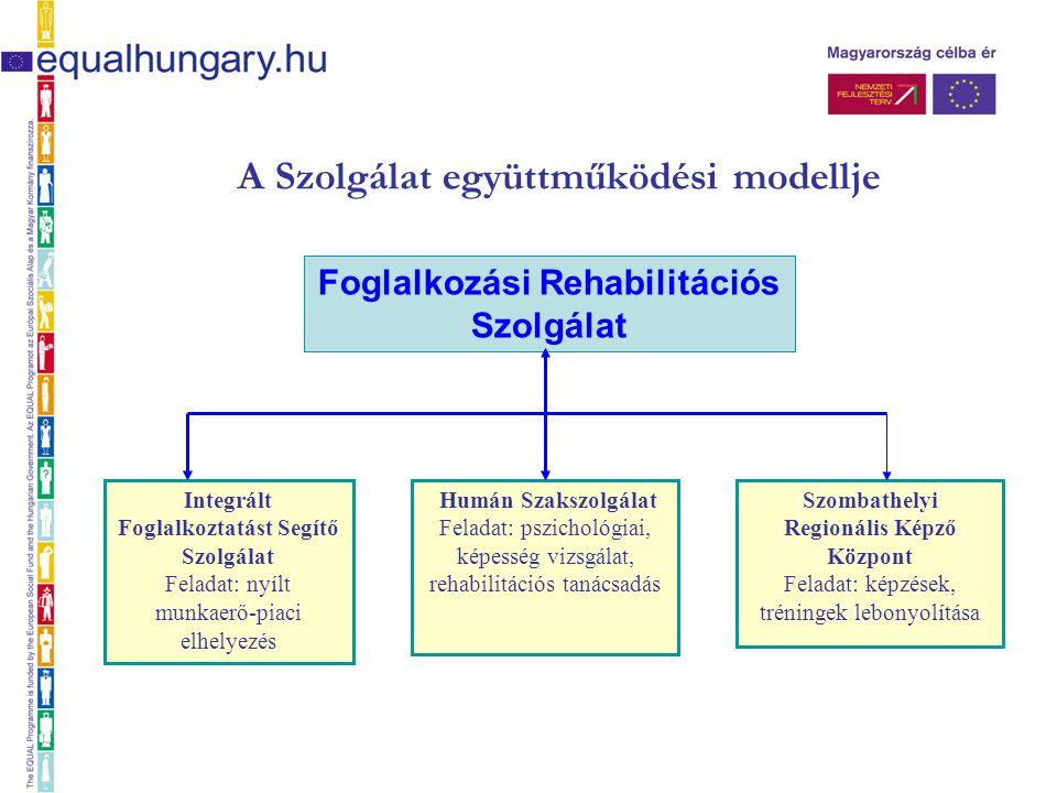 A Szolgálat együttműködési modellje Integrált Foglalkoztatást Segítő Szolgálat Feladat: nyílt munkaerő-piaci elhelyezés Humán Szakszolgálat Feladat: p
