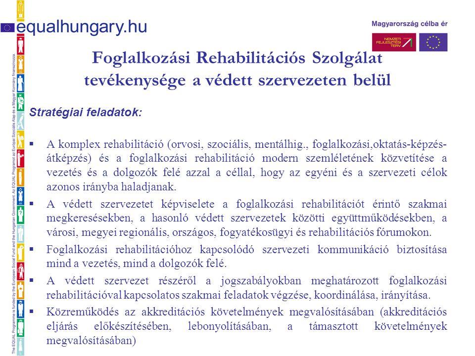 Foglalkozási Rehabilitációs Szolgálat tevékenysége a védett szervezeten belül Stratégiai feladatok:  A komplex rehabilitáció (orvosi, szociális, ment