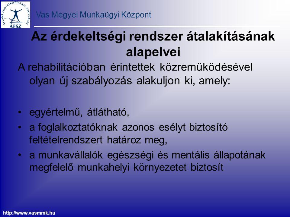 Vas Megyei Munkaügyi Központ http://www.vasmmk.hu Az érdekeltségi rendszer átalakításának alapelvei A rehabilitációban érintettek közreműködésével oly