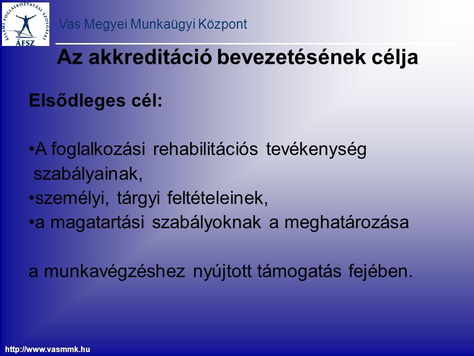 Vas Megyei Munkaügyi Központ http://www.vasmmk.hu Az akkreditáció bevezetésének célja Elsődleges cél: A foglalkozási rehabilitációs tevékenység szabál
