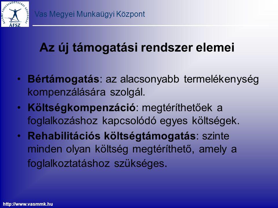 Vas Megyei Munkaügyi Központ http://www.vasmmk.hu Az új támogatási rendszer elemei Bértámogatás: az alacsonyabb termelékenység kompenzálására szolgál.