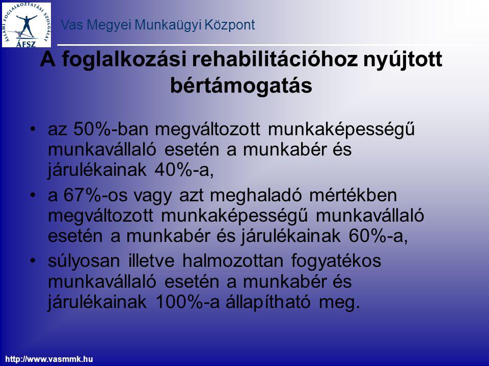 Vas Megyei Munkaügyi Központ http://www.vasmmk.hu A foglalkozási rehabilitációhoz nyújtott bértámogatás az 50%-ban megváltozott munkaképességű munkavá