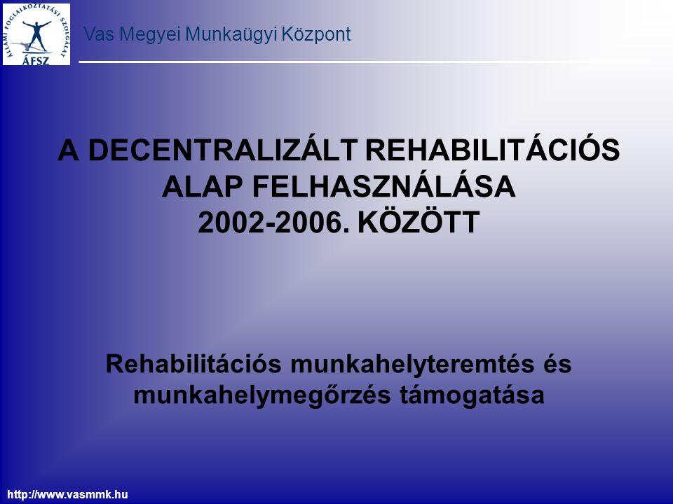 Vas Megyei Munkaügyi Központ http://www.vasmmk.hu A DECENTRALIZÁLT REHABILITÁCIÓS ALAP FELHASZNÁLÁSA 2002-2006. KÖZÖTT Rehabilitációs munkahelyteremté