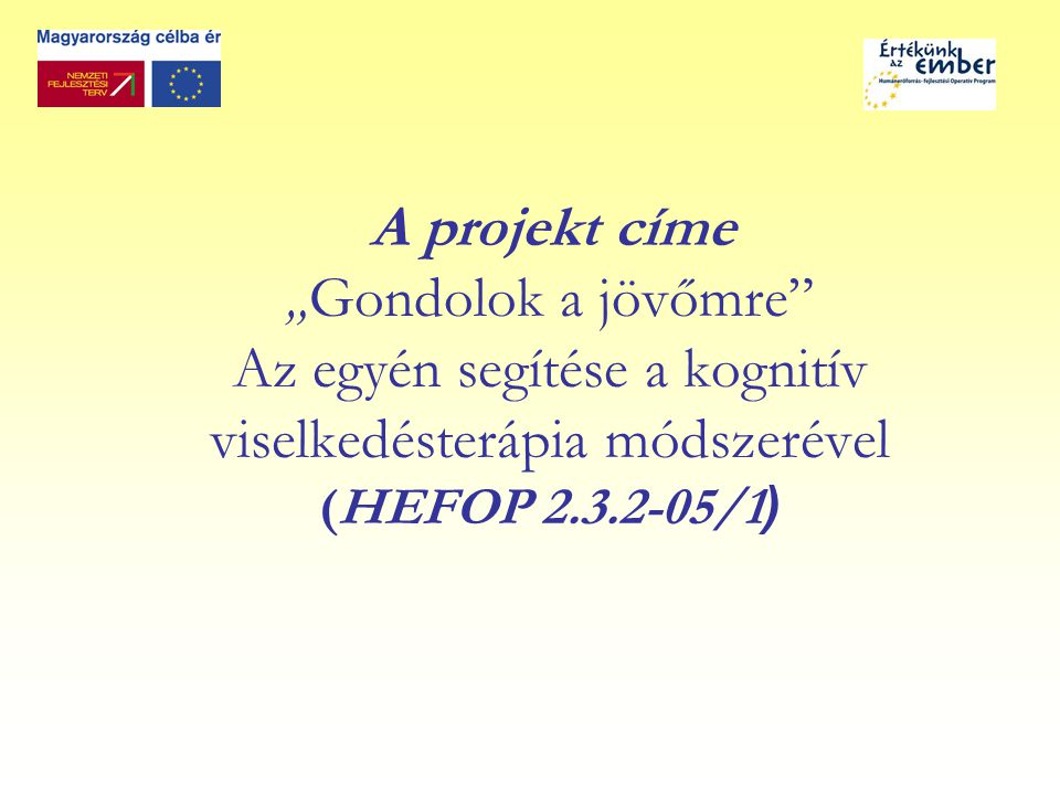 A projekt időtartama 2006.szeptember 01-2008. február 28.