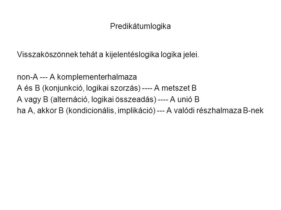 Predikátumlogika Visszaköszönnek tehát a kijelentéslogika logika jelei. non-A --- A komplementerhalmaza A és B (konjunkció, logikai szorzás) ---- A me