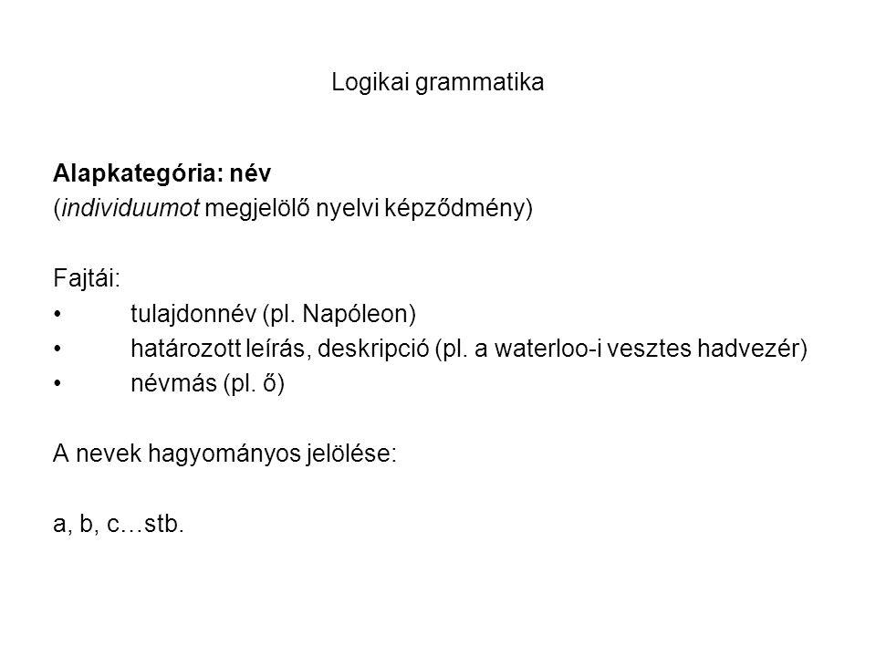 Logikai grammatika Alapkategória: név (individuumot megjelölő nyelvi képződmény) Fajtái: tulajdonnév (pl. Napóleon) határozott leírás, deskripció (pl.