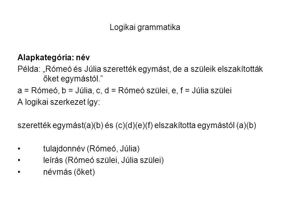 """Logikai grammatika Alapkategória: név Példa: """"Rómeó és Júlia szerették egymást, de a szüleik elszakították őket egymástól."""" a = Rómeó, b = Júlia, c, d"""