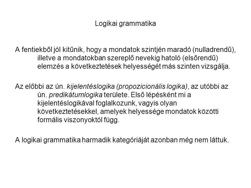 Logikai grammatika A fentiekből jól kitűnik, hogy a mondatok szintjén maradó (nulladrendű), illetve a mondatokban szereplő nevekig hatoló (elsőrendű)